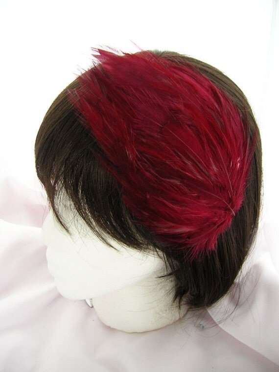 Wine Red feather fascinator headband, comb, or hair clip - fascinator millinery supply blank base