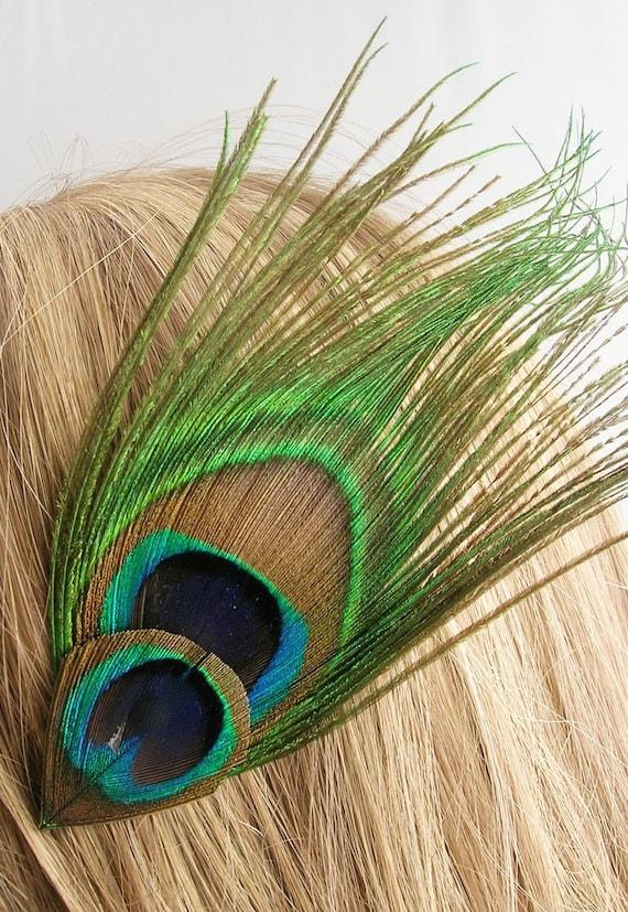 Peacock feather hair clip - VIKI design (16 color option) peacock feather hair clip for bridesmaid,flower girl,vintage wedding,peacock theme