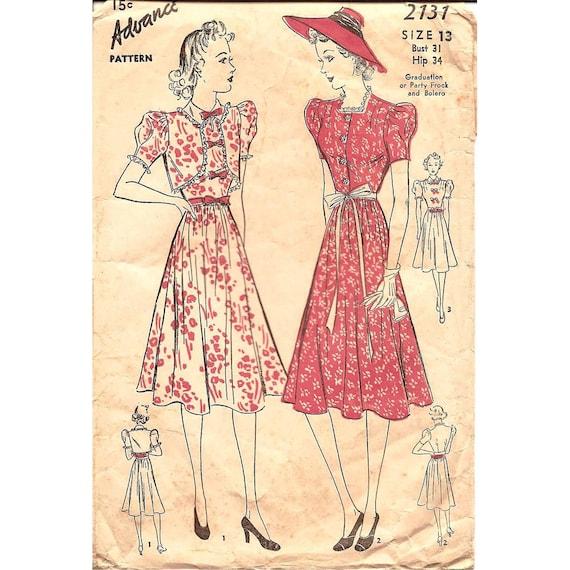1930s Womens Dress and Bolero - Advance 2131 Vintage Pattern - Bust 31 Size 13