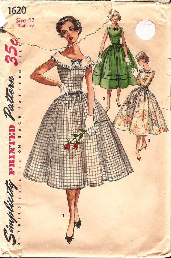 1950s Womens Day Dress - Simplicity 1620 Vintage Pattern - 30 Bust - Full Skirt and Detachable Collar