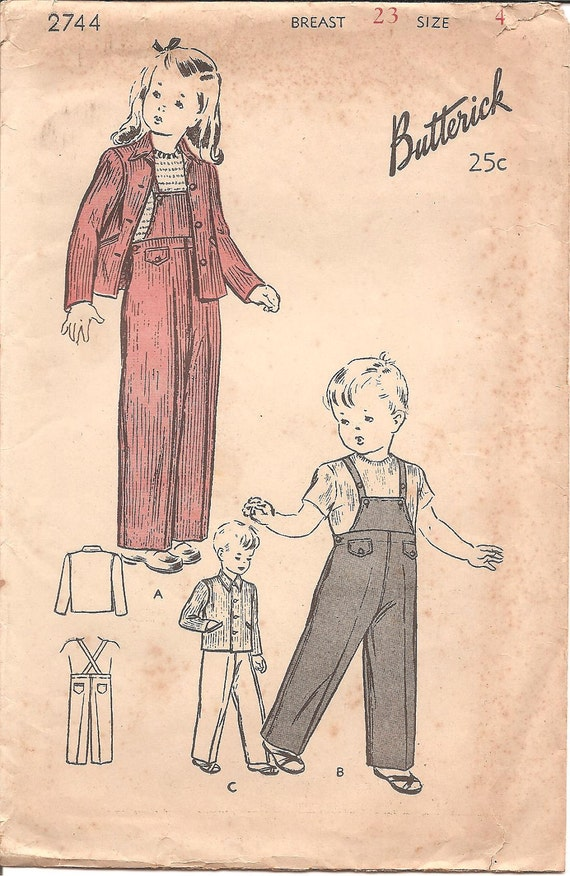 1940s Children's Overalls and Jacket - Butterick 2744 Vintage Pattern - Size 4 Breast 23