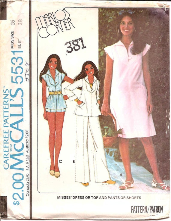 McCall's 5531 1970s Womens Dress Top Shorts and Pants - 38 Bust - Vintage Sewing Pattern UNCUT