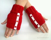 Red Fingerless Gloves Mittens