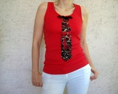 SALE % 25 off Women Tshirt,  Red Womens Tank, Top with Necktie, Summer Fashion