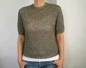 SALE % 25 Off  Vintage 70's Sweater, Hand Knit Shiny Green