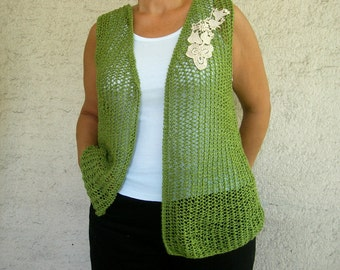 Green Hand Knitted Vest, Plus Size Over Size