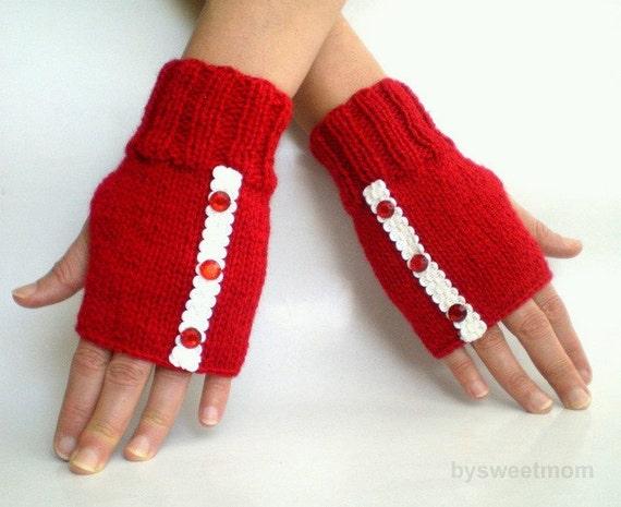 Red Fingerless Gloves Mittens