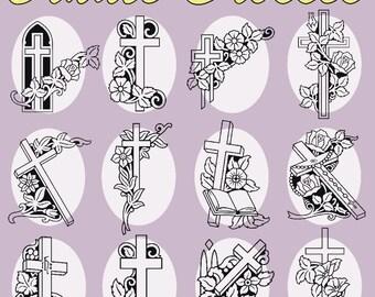 38 Ornate Crosses Vector Clipart