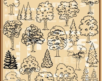 60 Trees Vector Clipart