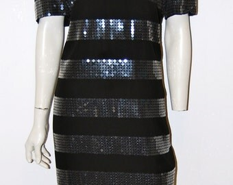 Vintage Early 90s Little Black Sequin Striped Shift Dress