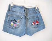 Ice Cream and Eyeballs Embroidered Shorts