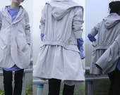 Gray hooded coat  autumn