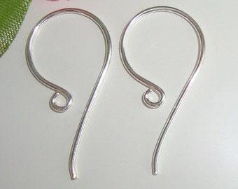 SAVE, BULK 20 pcs, 24x12 mm, Sterling Silver larger Simple French Ear Wire hook - Earrings findings - EW-0007