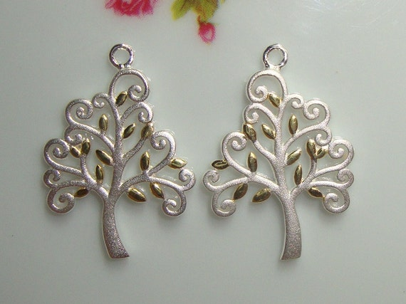 So Beautiful, 1 Tree, Handmade in Thailand, 3D, Semi Matte 925 Sterling Silver TREE of life with 18K Gold plated leaves