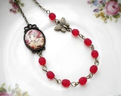 Red Necklace Little Red Riding Hood Necklace Children Gift Cameo Fairytale Necklace Butterly Necklace Little Girl Necklace Children Necklace