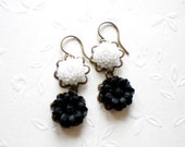 Flower Earrings Black and White Drop Flower Cabochon Earrings Dangle Earrings Black and White Earrings Black Flower Earrings Resin Jewelry