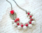 Red Statement Necklace Flower Necklace Multi Strand Red Necklace Leaf Necklace Pearl Bridesmaid Necklace Statement Wedding Jewelry