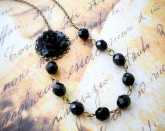 Black Bridesmaid Necklace Rose Flower Necklace Black Gothic Wedding Jewelry Black Glass Necklace Black Rose Necklace Total Black Jewelry