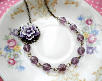 Purple Necklace Flower Necklace Romantic Jewelry Purple Bridesmaid Necklace Gift For Her Purple Jewelry Lavender Necklace Gift For Woman