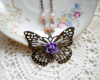Butterfly Necklace Nature Jewelry Butterfly Pendant Gift For Girls Romantic Jewelry Animal Necklace Pastel Jewelry Purple Flower Necklace