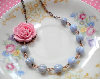 Pink Necklace Baby Blue Necklace Romantic Necklace Flower Necklace Pastel Jewelry Pale Pink Necklace Pale Blue Necklace Pink Rose Necklace