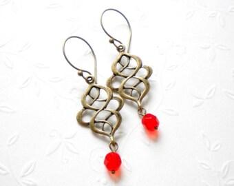 Chandelier Earrings Modern Earrings Dangle Glass Earrings Oriental Earrings Tangerine Jewelry Antique Bronze Long Earrings Modern Jewelry