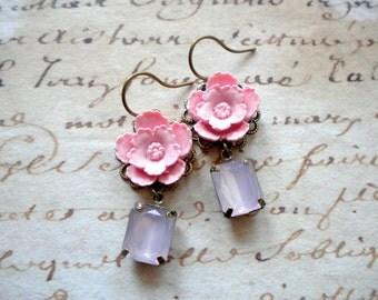 Pink Earrings Pink Bridesmaid Earrings Pastel Jewelry Pink Dangle Earrings Pink Flower Earrings Bridesmaid Gift Pastel Earrings