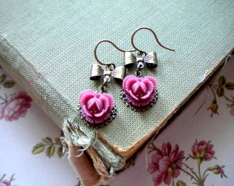 Bow Earrings Romantic Flower Earrings Floral Earrings Romantic Jewelry Purple Earrings Flower Dangle Earrings Brass Bow Drop Earrings