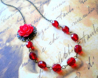 Red Necklace Romantic Jewelry Red Flower Necklace Red Beaded Necklace Red Flower Jewelry Romantic Necklace Gift For Woman Red Glass Necklace