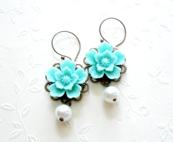 Turquoise Bridesmaid Earrings Chandelier Pearl Earrings Flower Turquoise Wedding Jewelry Tiffanys Blue Earrings Turquoise Dangle Earrings