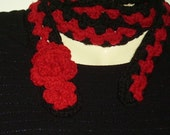 Crocheted black and red scarflette/belt with flower//accessories//gifts for her