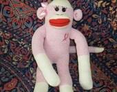 Sock Monkey Doll, Breast Cancer Awareness