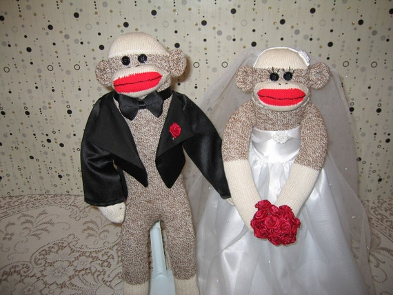Sock Monkey Bride and Groom Dolls, Centerpiece, Shower Gift