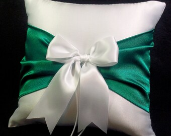 Emerald Green Accent Wedding Ring Bearer Pillow- Custom colors available