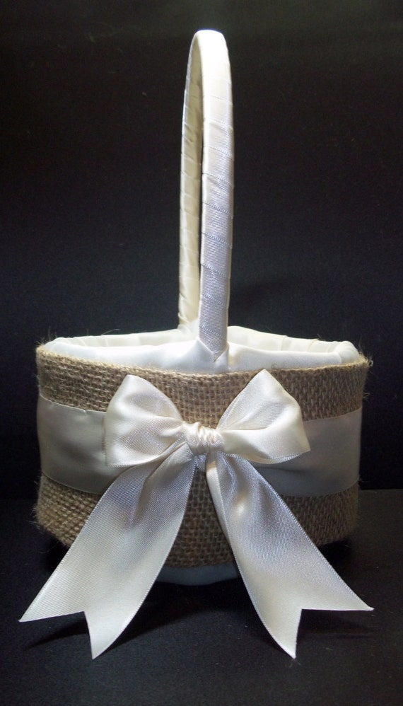 Burlap Accent  Ivory or White Rustic Wedding Flower Girl Basket