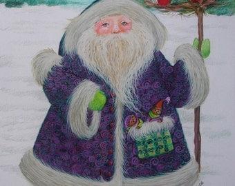 Purple Santa - 6 x 6 card