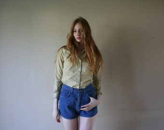 70s 80s Cotton Button Up Collared Shirt Blouse Vertical Striped Casual Blouse Yellow Size Extra Small xs (000-00-0)