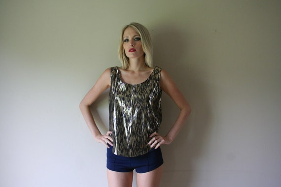 20% OFF SALE // 80s Tank Top Silver and Black Lame' Abstract Leopard Print Oversized Shirt Size Small-Medium  sm med md (0-2-4-6)