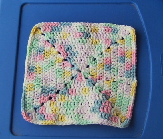 Pastel Crocheted Dishcloth