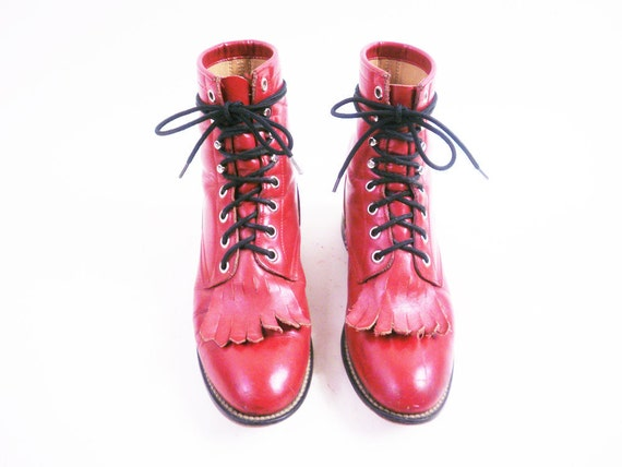 Size 5 Vintage Red Leather Combat Lacer Boots by Justin 35