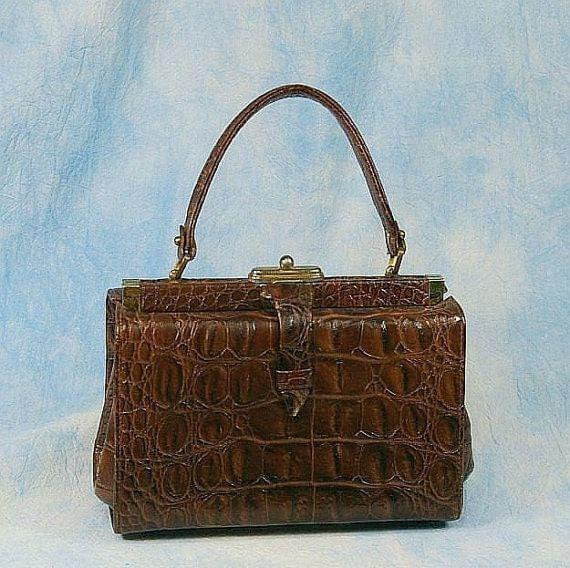 RESERVED Vintage 50s Hornback Alligator Embossed Leather Handbag Purse