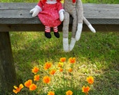 Sock Monkey and Raggedy Ann with California Poppies