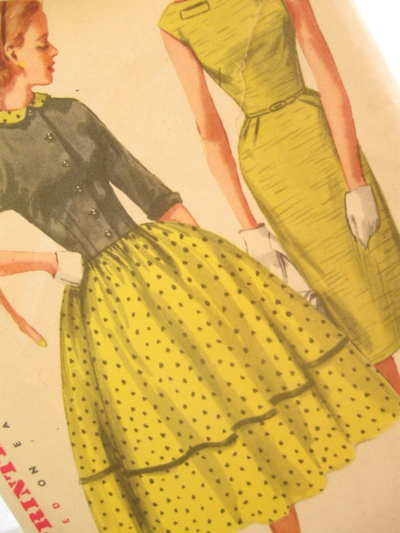 Simplicity 1412: 1950's Vintage Full Skirt Dress Pattern or Pencil Skirt Bust 36