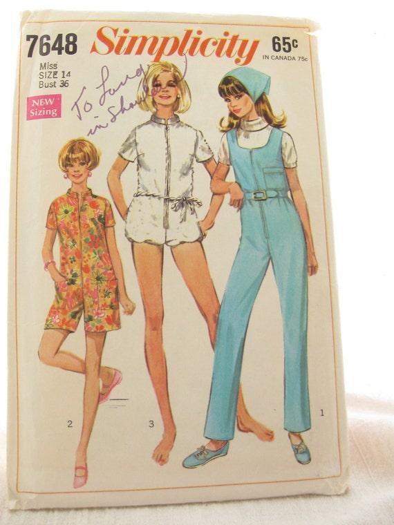 Simplicity 7648 Vintage 60s Jumpsuit Misses Vintage Sewing Pattern Bust 36