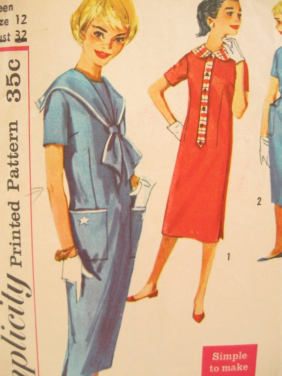 Simplicity 2644 Nautical 1950s Sheath Dress Vintage Sewing Pattern Bust 32