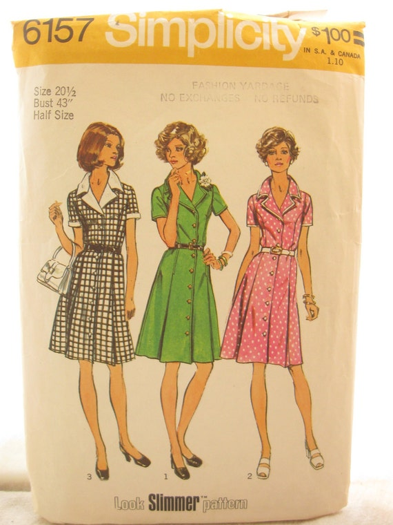 Simplicity 6157 1970s Shirtdress Button Front Dress Vintage Sewing Pattern Bust 43