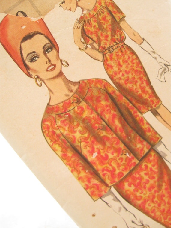 Butterick 3550 1960s Mod Dress Sewing Pattern Bust 38