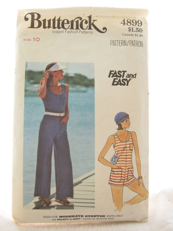 Butterick 4899 Vintage Misses Jumpsuit Sewing Pattern Easy Sew Bust 32