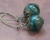 Earrings Green Choroite Stone on Long Brass Kidney Wires