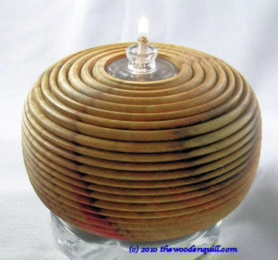 House Warming Gift - Wood and Glass Oil Lamp in Red Flame Box Elder Great Wedding Gift
